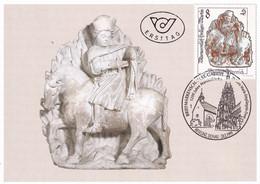 A8412- ERSTTAG, SCULPTURE SAINT MARTIN VON TOURS, REPUBLIK OESTERREICH AUSTRIA 1999 LINZ DONAU USED STAMP ON COVER - Sculpture