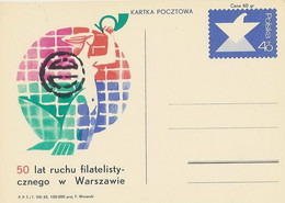 Poland Postcard Cp 282: 50 Years Philately Mermaid Hand Trumpet - Entiers Postaux