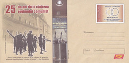 A8459- 25 YEARS SINCE THE FALL OF THE COMMUNIST REGIME, ROMANIAN COVER STATIONERY POSTAGE UNUSED - Entiers Postaux