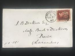 GB Victoria 1868 Cover Cambridge Duplex To Preston Tied With 1d Red Plate 106 - Briefe U. Dokumente