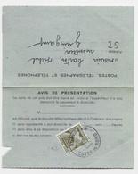 TAXE 20C N°92 SEUL GUINGAMP 18.10.1962 SUR AVIS ARRIVEE PEU COMMUN - Postage Due Covers