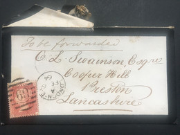 GB Victoria 1864 Mourning Cover London Duplex To Preston Tied With 1d Red Star - Briefe U. Dokumente