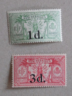 New Hebrides 1924 G.B. Lot 2 Overprinted Stamps Yv 77 & 78  Native Idol NOUVELLES HEBRIDES 1924 LOT 2 TIMBRES SURCHARGES - Neufs