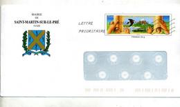 Pap Environnement Flamme Chiffree Entete Mairie Saint Martin Sur Le Pré - Prêts-à-poster: Other (1995-...)