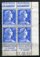 21900 FRANCE N°1011B°(299i) 20F Marianne De Muller : Télévision Grammont +Timbres-Poste H.Thiaude  1957  B/TB - Pubblicitari