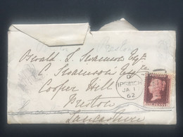 GB Victoria 1862 Cover Ipswich Duplex To Preston Tied With 1d Red Star - Covers & Documents