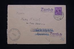 ALLEMAGNE - Enveloppe De Esslingen Pour Baden Et Retour En 1946 Avec Cachet De Contrôle Militaire - L 99959 - American,British And Russian Zone