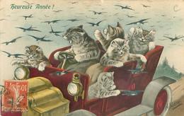 Illustration N Parker - M M Vienne N° 558 -  Groupe De Chats Humanisés Dans Une Voiture         F 1113 - Gatos