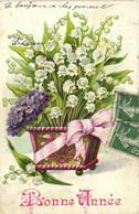 Carte Gaufrée Panier De Muguet Et Cviolettes Ruban Bonne Année RV - Other
