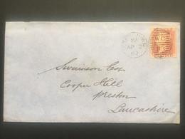 GB Victoria 1860 Cover London Duplex To Preston Tied With 1d Red Star - Briefe U. Dokumente