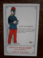 L36/97 CHROMO BISCUITS OLIBET . SIGNEE GUILLAUME . CREME BEURRE . MOTIFS DE PUNITION - Altri