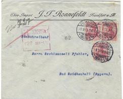Enveloppe Deutsches Reich 3 Timbres 10 Rouge J J Ronne Feld - Cartas