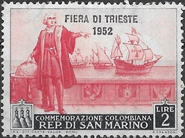 SAN MARINO 1952 Trieste Fair - Colombus Overprinted - 2l - Red And Black MH - Ungebraucht