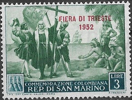 SAN MARINO 1952 Trieste Fair - Colombus Overprinted - 3l - Green And Turquoise MH - Ungebraucht