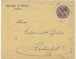 Enveloppe Deutsches Reich 10 Rouge Perfore Springer & Moller - Cartas