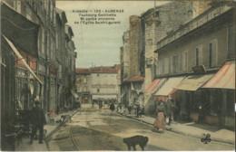 07*Ardèche* - Aubenas - Faubourg Gambetta Et Partie Ancienne De L' Eglise Saint Laurent (colorisée) - Aubenas