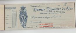 ANCIEN CHEQUIER DE LA BANQUE POPULAIRE DU VAR - TOULON - Schecks  Und Reiseschecks