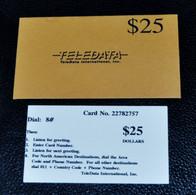 """TELEDATA """"Ticket Téléphone $25"""" - Utilisé Par Les Casques Bleus De La FORPRONU En 1995 (rare Avec Sa Pochette D'origine) - Army"""
