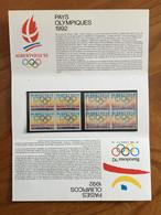 Pochette Philatélique D'émission Commune FRANCE-ESPAGNE Pays Olympiques - 1992 - Neuf - Souvenir Blokken