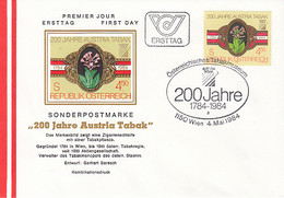 PLANTS, TOBACCO, AUSTRIA TABAK, COVER FDC, 1984, AUSTRIA - Tabak