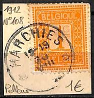 NB - [844014]TB//O/Used-Belgique 1912 - N° 108, Relais (étoiles) *HARCHIES*, Pellens - Bolli A Stelle