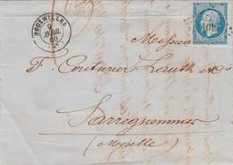 Yvert 14 - 4 Marges 2 Gros Points Blanc Derrière La Tête Lettre BOUXWILLER Bas Rhin 9/4/1860  PC 494 Pour Sarreguemines - 1849-1876: Periodo Classico