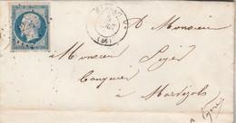 Yvert 14 - 4 Marges Lettre De Bedoue Cachet FLORAC Lozère 5/8/1855  PC 1294 Pour Marvejols - 1849-1876: Klassik