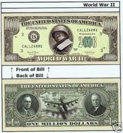 USA World War II Commemorative Novelty Banknote 1 Million Dollar - UNCIRCULATED & CRISP - Autres - Amérique