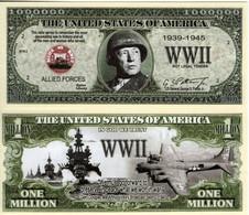 USA World War II Commemorative Novelty Banknote 1 Million Dollar 'Patton' - UNC & CRISP - Autres - Amérique