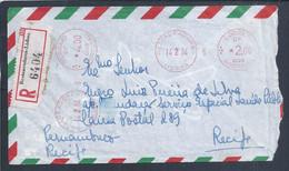 Rara Obliteração Dos Restauradores, Lisboa 1964. Carta Registada Para Recife, Brasil.  Rare Obliteration Of Restauradore - Covers & Documents