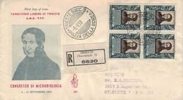 Agostino Bassi - Trieste Piazza Della Borsa 1953 FDC > Reco Milwaukee Via Milano & New York - Medicina