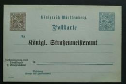 """Württemberg 1908, Postkarte DP37 """"Königl. Straßenmeisteramt"""" Ungebraucht - Wurttemberg"""