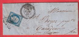 N°14 PC 1282 FLAYOSC VAR CAD TYPE 22 INDICE 15 AU DOS TYPE 22 LES ERCS SUR ARGENS 1859 - 1849-1876: Klassik