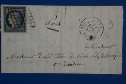U16 FRANCE BELLE LETTRE  1861 PARIS + N 4 . BELLES MARGES +AFFRANCHISSEMENT INTERESSANT - 1849-1850 Cérès