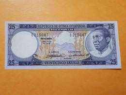 GUINEE EQUATORIALE 25 EKUELE 1975 FIRST SIGNATURES UNC - Equatorial Guinea
