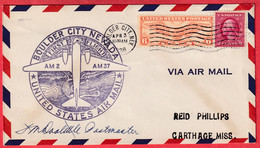 ETATS UNIS 1927 1ER VOL FIRST FLIGHT BOULDER CITY NEVAD 1938 AIR MAIL SERVICE 1938 SIGNATURE PILOTE ?? - 1c. 1918-1940 Briefe U. Dokumente