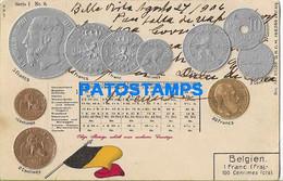 162897 BELGIUM ART EMBOSSED MULTI COIN & FLAG BREAK POSTAL POSTCARD - Non Classificati