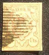 Ancien Timbre Suisse 1852 Signé Oblitéré Losange Noir, Rouge N° 24 Marge Basse Fine. B. - 1843-1852 Federale & Kantonnale Postzegels