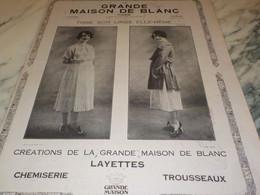 ANCIENNE PUBLICITE MAGASIN LA GRANDE MAISON DE BLANC 1920 - Other