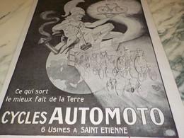 ANCIENNE PUBLICITE CYCLE  AUTOMOTO 1920 - Motorfietsen
