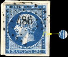 France - Yv.14A 20c Bleu T.1 - Position 102D2 - Obl. PC 486 (Bourgoin) TB Sur Fragment (ref.05i) - 1853-1860 Napoléon III