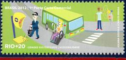 Ref. BR-3218P BRAZIL 2012 ENVIRONMENT, RIO+20, UN, ACCESSIBILITY, , DISABLED PERSONS, BUS, MNH 1V Sc# 3218P - Bus