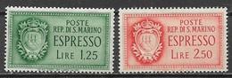 SAN MARINO 1943 ESPRESSI STEMMA SASS. 9-10 MLH VF - Francobolli Per Espresso