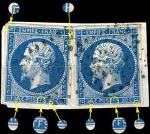 """France - 2xYv.14A 20c Bleu T.1 - Variété """"POSTFS"""" Pos. 85D2 & 86D2 - Superbe Sur Fragment (ref.&01a) - 1853-1860 Napoléon III"""