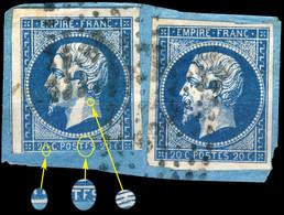 "France - 2xYv.14A 20c Bleu T.1 - 1x Variété ""POSTFS"" Pos. 84D2 & 1x Non Planché - 2nd Choix & TB Sur Fragment (ref.&01b) - 1853-1860 Napoléon III."