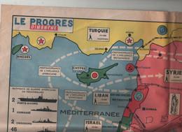 Carte Détaillée Moyen Orient 1957 Iran Turquie Syrie Irak Jordanie Liban Egypte Israel Chypre Arabie Séoudite - Unclassified
