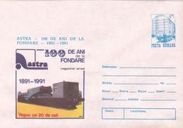 TRAIN VAGON ASTRA ARAD POSTAL STATIONERY ,COVERS 1991, ROMANIA - Entiers Postaux
