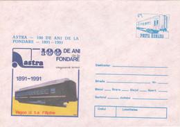 TRAIN VAGON ASTRA ARAD POSTAL STATIONERY ,COVERS 1991, ROMANIA - Enteros Postales