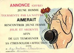 ANNONCE (OFFRE) JEUNE HOMME TOURMENTE PAR LA NATURE AIMERAIT RENCONTRER JEUNE FEMME  JOLIE ET ARDENTE - Humor