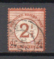 - ALLEMAGNE N° 28 Oblitéré - 2½ Sur 2½ G. Brun-rouge 1874 - Cote 50,00 € - - Used Stamps